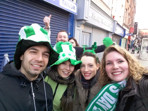 """Jack, Vicky, Estelle and me (and some unknown people behind) on """"Saint Paddy's"""""""