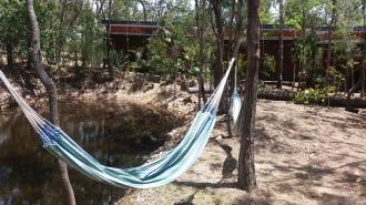Relaxing in a hammock in the hostel