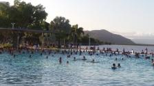 Sporty people doing aquarobics!